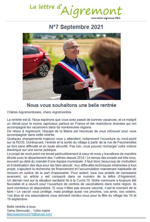 La lettre d'Aigremont n° 7 - septembre 2021