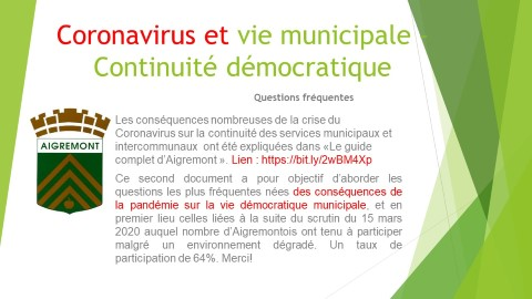 Coronavirus et Vie Démocratique- Votre municipalité vous informe