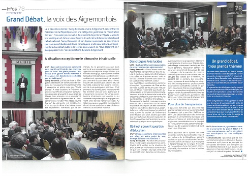 Grand Débat à Aigremont - Article du le journal des Maire des Yvelines n°72 - Avril 2019