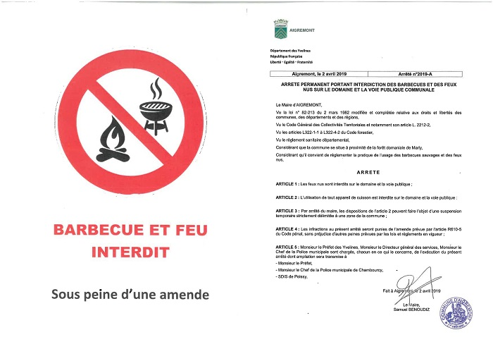INTERDICTION - Barbecues et feux NUS