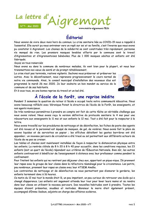 La lettre d'Aigremont n° 7 - Mai 2020