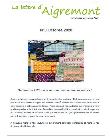 La lettre d'Aigremont n° 8 - Octobre 2020